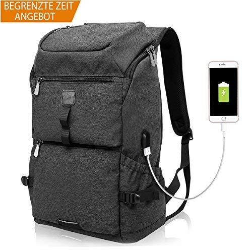 Backpack with USB Charging Port Laptop Bag School Rucksack, Laptop Backpack 15.6 Inch, Water Resistant Daypack Men Women Unisex, Business Travel College Outdoor Classic Black