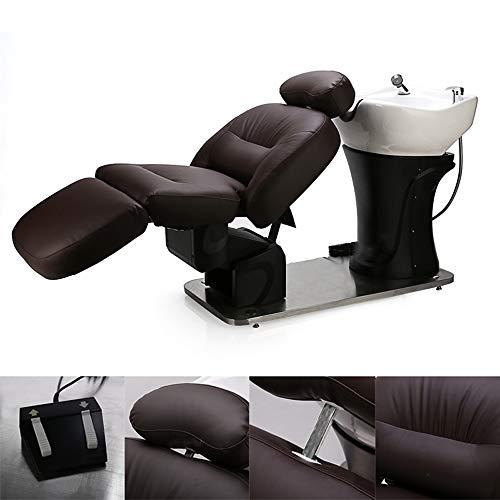 Backwash Barber Chair with Ceramic Basin Adjustable Footrest Angle, Backrest Angle, Whole Bed Height Salon Furniture