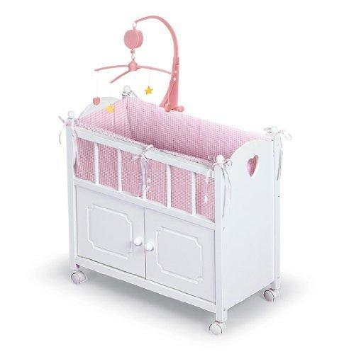 Badger Basket White Doll Crib with Cabinet/Bedding/Mobile/Wheels (fits American Girl dolls) by Badger Basket