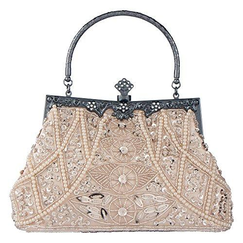 Bagood Women's Vintage Clutches Purses Evening Bags Handbag Shoulder Bag Seed Beaded Sequin Flower for Wedding Bridal Prom Party Champagne(Size: One Size)