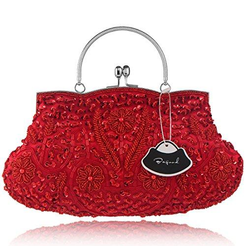 Bagood Women's Vintage Clutches Purses Evening Bags Handbag Shoulder Bag Seed Beaded Sequin Flower for Wedding Bridal Prom Party Red(Size: One Size)