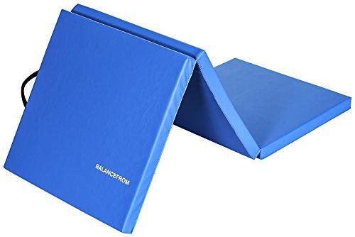 "BalanceFrom 2"" Thick Tri-Fold Folding Exercise Mat with Carrying Handles for MMA, Gymnastics and Home Gym Protective Flooring (Blue)"