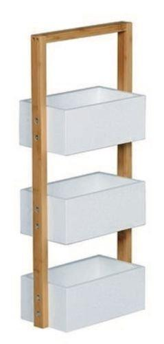 Bamboo 3 Tier Bathroom MDF Caddy Shower Shelves Standing Tidy Organiser