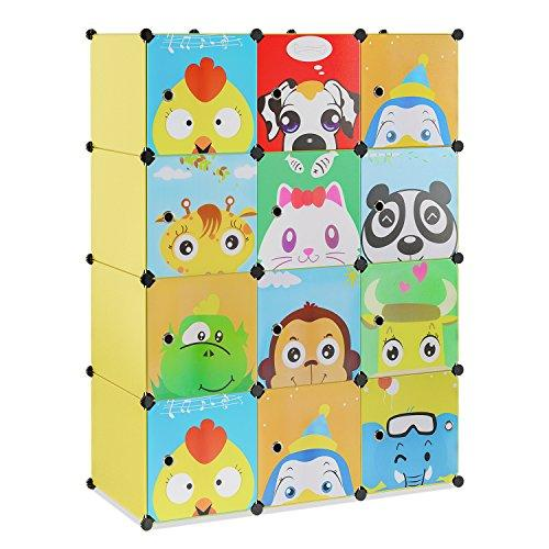 BAMNY12-Cube DIY Cabinet Storage Unit Organiser for Kids Stackable Plastic Cube Shelves Multifunctional Modular Cupboard Wardrobe with Cute Animal Cartoons on Doors Yellow (110 x 46.5 x 145 cm)