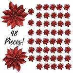 "Banberry Designs Artificial Poinsettia Flowers - Set of 48-3 3/4"" Red Glittered Poinsettia Clip On Ornaments - Christmas Decorations - Decorative Floral Accessories"