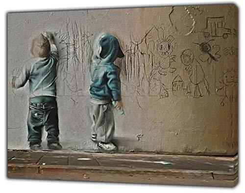 Banksy Kids Painting Print ON Framed Canvas Wall Art Home Decoration 24'' x 20''inch - 18mm Depth