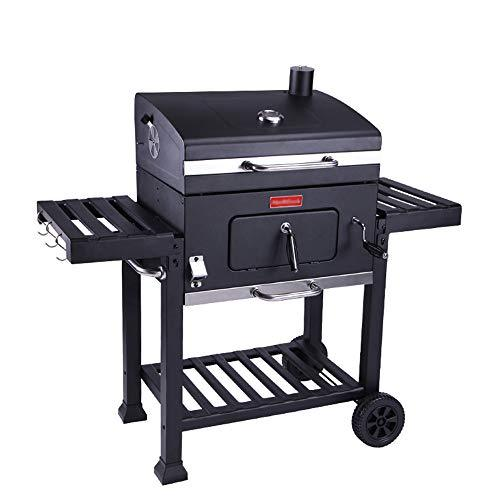 Barbecue furnace BBQ grill, portable wheel grill, drawer type ash basin, temperature regulator double shelf adjustable carbon tray / 5-10 people