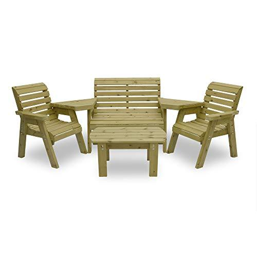 Barrowden Garden Single/Double/Single Combination Set with Curved Coffee Table (Light Green)