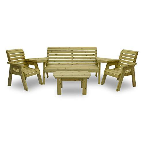 Barrowden Garden Single/Triple/Single Combination Set with Curved Coffee Table (Light Green)
