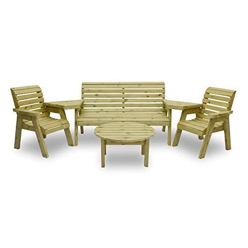 Barrowden Garden Single/Triple/Single Companion Seat (Angled) with Circular Coffee Table (Light Green)