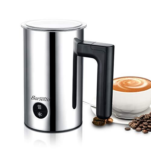 Barsetto Milk Frother Automatic Milk Warmer with Silent Operation Automotive Electric Frother with Hot and Cold Milk Function for Coffee Cappuccino Latte and Breakfast