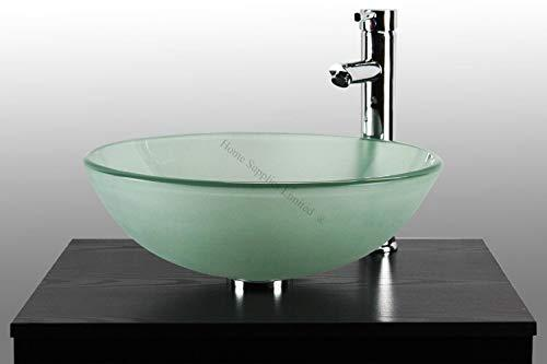 BATHROOM CLOAKROOM COUNTERTOP FROSTED GLASS BOWL BASIN SINK + TAP + POP UP WASTE + CHROME BOTTLE TRAP