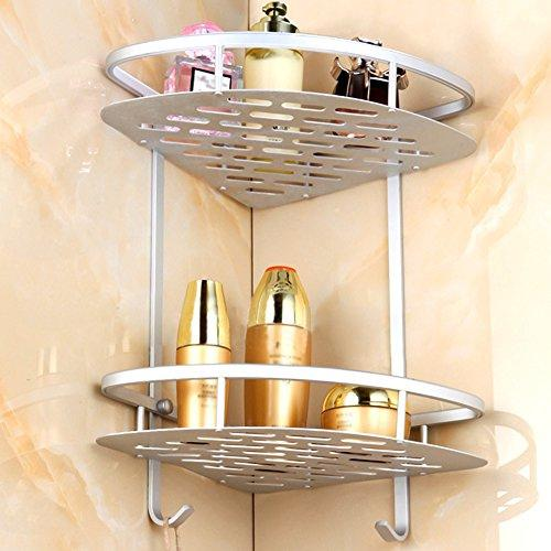 Bathroom Corner Rack Double Tier MULTAGFY Shower Storage Shelf with Towel Rail, Stainless Wall Mount Shower Organiser Storage for Shampoo, Conditioner, Soap, Razors