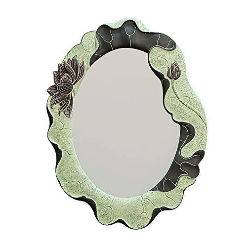 BATHROOM MIRROR HOME Oval Bathroom Mirror/Bedroom Resin Material Dressing Table Makeup Mirror