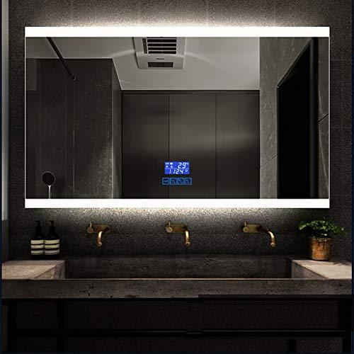 Bathroom Mirror Led White/Warm Light+Upper And Lower Frosted+Touch Control+Anti-Fog+Time/Temperature Display+Bluetooth Washroom Waterproof And Moisture Proof Explosion-Proof