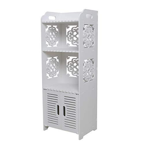 Bathroom Storage Cabinet Floor Standing Waterproof MDF Organizer Rack Book Shelf White Robust Bathroom Furniture for Living Room Bedroom, Kitchen Hallway, Bathroom Silm Shlef Cupboard