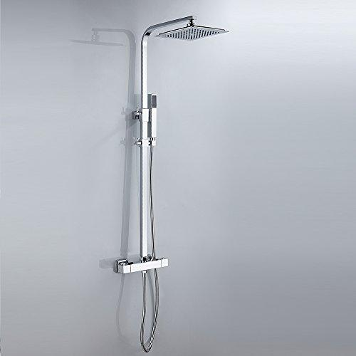"Bathroom Thermostatic Mixer Shower Set Modern Square Bath Value Tap Systems 8"" Rainfall Shower Head"