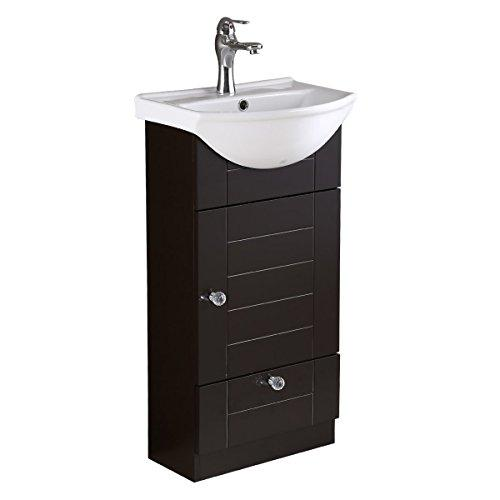 Bathroom Vanity White Sink Black Square Cabinet Wall Mount | Renovator's Supply