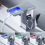 Bathroom Waterfall Sink Tap 3 Colour Changing LED RGB Single Handle Modern Washroom Basin Mixer Taps