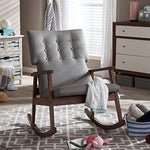 Baxton Studio Agatha Mid-Century Modern Fabric Upholstered Button-Tufted Rocking Chair, Grey