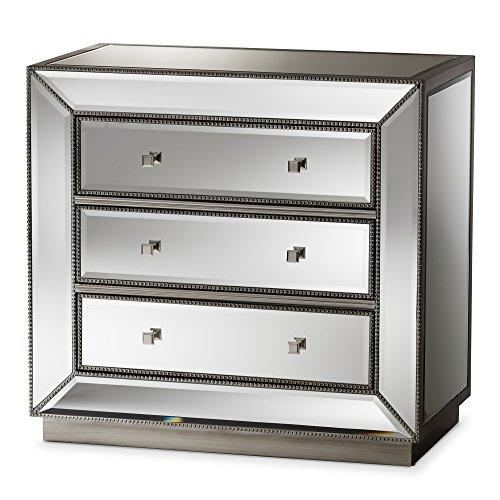 Baxton Studio Elisha Hollywood Regency Glamour Style Mirrored 3-Drawer Chest, Silver Mirrored