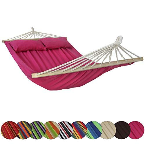 BB Sport Hammock CIBAO with Spreader Bars incl. 2 pillows 240 x 150 cm in many colours capacity 300 kg for 2 people, Colour:Mallow