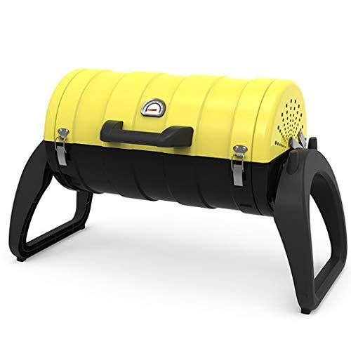 Bbq Picnic - Small Suitcase Charcoal Grill Electric Grilled Fork Folding Portable Grill Suitable For Traveling Outdoor Camping-Yellow