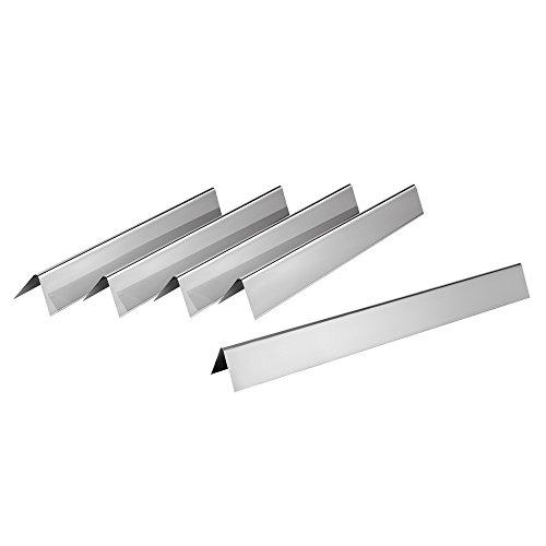 BBQ Toro, set of stainless steel flavorizer bars. (pack of 5), flame distributor for gas barbecue, flavorizer bars for Weber Spirit 200 series to 2012, Spirit 500, or Genesis Silver A, burner cover, (H) 4 x (W) 5 x (L) 55 cm.