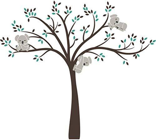 Bdecoll 3 Koalas Jumping on the Tree Wall Stickers,Nursery Wall Decals for Baby Kids (Green Brown)