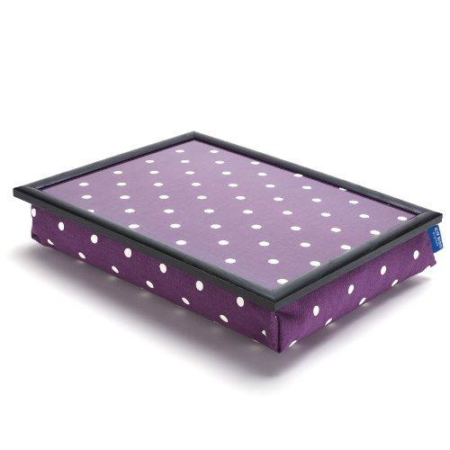Bean Bag Cushion Lap Tray. Lap Top/Breakfast Tray - Purple Spotty Grape