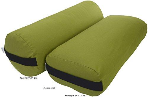 Bean Products Yoga Bolster - Cotton Round - Olive