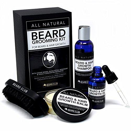 Beard Growth & Grooming Kit | 100% Natural Beard Oil, Balm, Shampoo, Brush | With Biotin, Cedar Wood, Eucalyptus & Rosemary For Conditioning, Styling & Growth | Best Beard Care Gift Set for Men