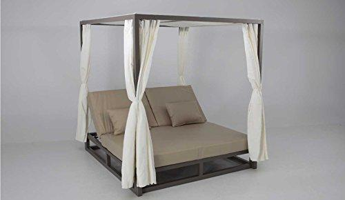 Bed balinesa Chill Out Aluminium Marron Upholstered Nautico Beige Zanzibar