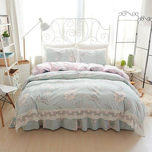 Beddingleer 100% Cotton Lace Princess Style Bed Skirt Duvet Cover Soft Bedding Set (Flower05, Duvet cover :220 X 240cm)