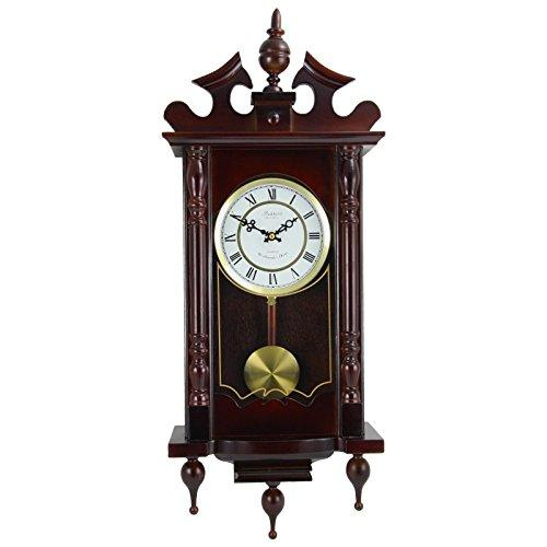 "Bedford Clock Collection Classic 31"" Chiming Wall Clock With Roman Numerals And A Swinging Pendulum in a Cherry Oak Finish"