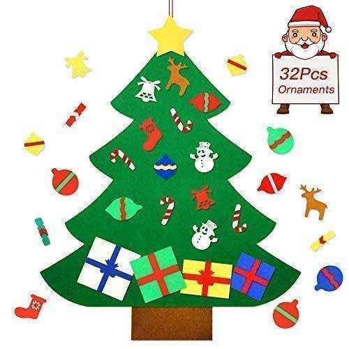 Befayoo Felt Christmas Tree for Kids DIY Wall Christmas Decorations Tree Set Wall Hanging with 32 Pieces Detachable Christmas Ornaments