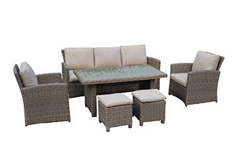 Beherzig Rattan garden lounge set - elegant. comfortable aluminium frame - brown with gray - 10 cm cushions - yard wicker furniture (1x 3-seater sofa, 1x table, 2x stool, 2x armchair)