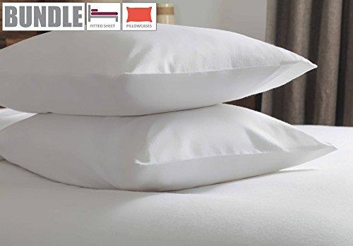 Belledorm Flannelette Fitted Sheet + Pillowcase Bundle Set, 100% Brushed Cotton, Mattress Depth 28cm (Super King Size, White)