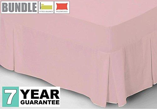 Belledorm Percale Fitted Valance + Housewife Pillowcase Bundle Set, 200 Thread Count (Blush, Double)