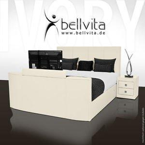 bellvita luxury boxspring bed with real leather bed frame and immersible flatscreen TV 180x200cm, ivory