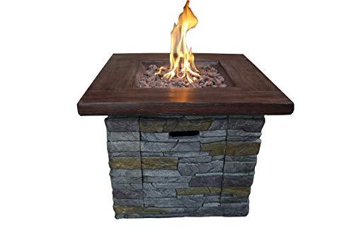 Belmont Home BH Amiata Outdoor Square Gas Fire Pit, Brick