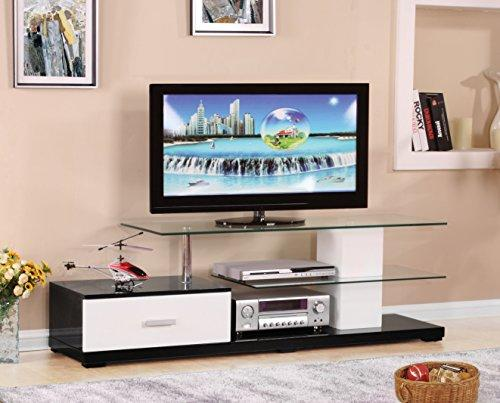 Benzara BM162961 Affable TV Stand, White and Black, Wood, One Size