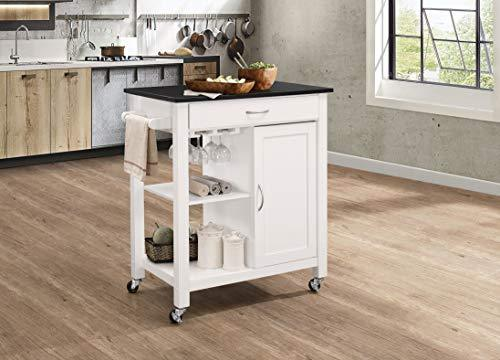 Benzara BM163663 Kitchen Cart with Wine Glass Holder and Caster Wheels, Black and White, Wood