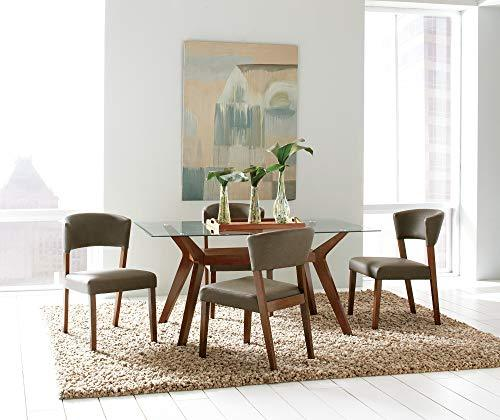 Benzara BM168355 Modern Dining Table with Glass Top, Brown and Clear, Wood