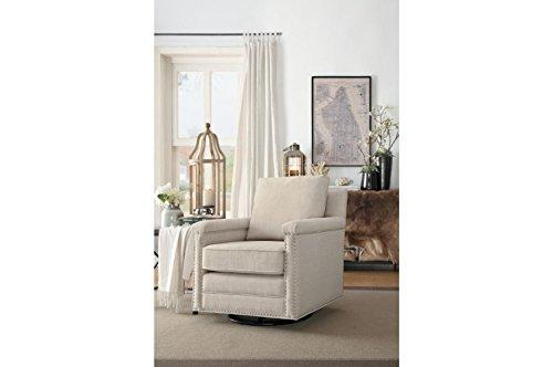 Benzara BM174404 Swivel Sofa Chair with Cushioned Seat and Back Rest, Ivory, Wood