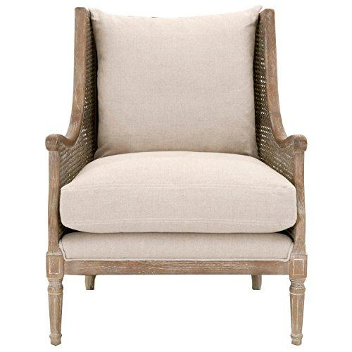 Benzara BM176164 Wooden Padded Living Room Chair, Beige and Brown, Wood