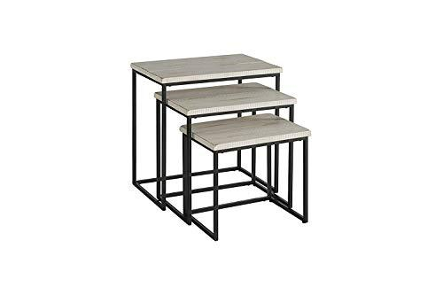 Benzara BM178145 Wooden and Metal Nesting Table, White