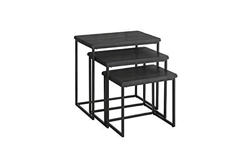 Benzara BM178146 Wooden and Metal Nesting Table, Gray