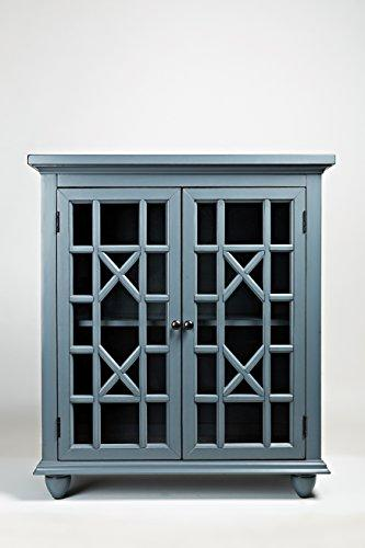 Benzara BM181629 Double Door Wooden Storage Chest with Intricated Front Panels, Blue, Wood