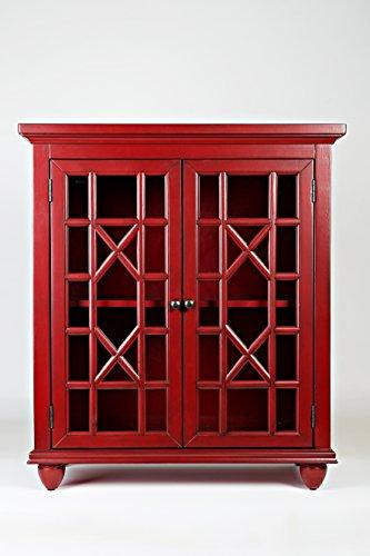 Benzara BM181631 Double Door Wooden Storage Chest with Intricated Front Panels, Red, Wood